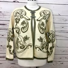 VRIKKE - S Wool Embroidered Norwegian Norway Cardigan Sweater Medium