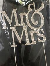 Mr and Mrs Silver Crystal Rhinestone Wedding Cake Topper Reception Decoration