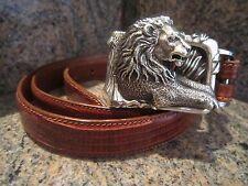 Rare!!! Kieselstein-Cord Sterling Lion Buckle with Brown Lizard Belt