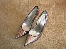 "Guess Carrie silver/pink sequined pumps size 9M with about 4 1/2"" heels"