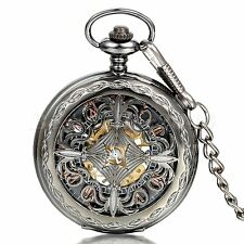 Vintage Flower Pattern Skeleton Steampunk Mechanical Men's Pocket Watch Necklace