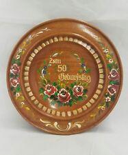 Vintage German Round Wood Plate Platter Hand Painted Folk Art Birthday Signed