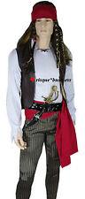 Mens Jack Sparrow Caribbean Buccaneer Pirate Fancy Dress Costume + Sword - M