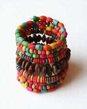 Vintage Retro Womens Bohemian Wood Beaded Bracelet - Boho/Ethnic Style
