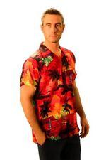 Camicie casual e maglie da uomo a manica corta hawaiiani rosso