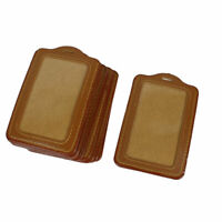 Workers Faux Leather Vertical Design Business Card Holders Brown Clear 10 Pcs