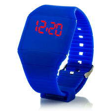 Digital Silikon LED Armband Uhr Armbanduhr Watch Herren Damen Kinder Sport Blau