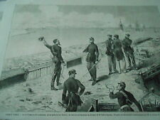 Gravure 1861 - Siège de Gaëte Le roi Francois II examinant batterie des Suisses
