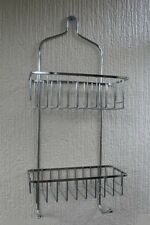 2 TIER CHROME HANGING SHOWER CADDY STORAGE TIDY BASKET ORGANISER HOOK RACK