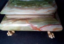 boite bijoux vintage pierre marbrée lisse veinée couleurs naturelle verdâtre .D9