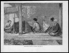 1880 Antique Print - INDONESIA SUMATRA Women Embroidering Sarongs  (20)