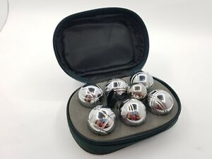 Set of Six Metal Stainless Petanque Balls in Case Mini Bocce Balls 32mm
