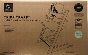 Stokke Tripp Trapp Baby High Chair w/ Baby Set & Extended Gliders Moss Green