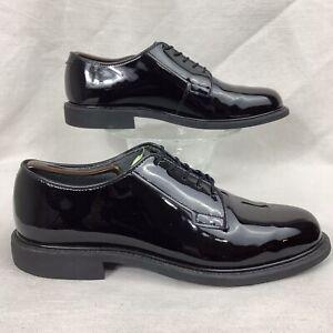 BATES 941A Black Patent High Gloss Military Dress Oxford Shoe Vibram men 12 D