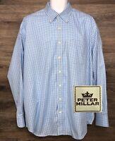 Peter Millar NanoLuxe Men's Cotton Blue Check Long Sleeve Button Down Shirt XL