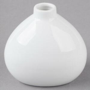 """Acopa 3 1/4"""" Bright White Porcelain Bulb Bud Vase"""