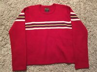 Abercrombie And Fitch 100% Wool Red/White/Blue/Yellow Sweater, Size M