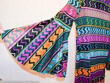 True Vintage 1960s Psychedelic Go Go Mini Dress Bell Shaped Cuffs Colorful Hippi