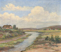 Mid 20th Century Oil - Summer River Landscape