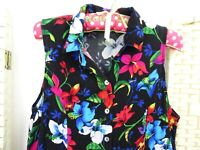 VINTAGE viscose black floral boho/festival 40s style fit & flare  tea dress S/M