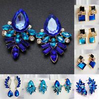Fashion Women Geometric Blue Crystal Rhinestone Statement Dangle Drop Earrings