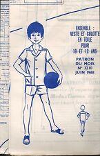 ▬► PATRON Couture Modes et Travaux - Ensemble 10 à 12 ans Juin 1968