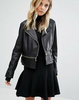 Black Leather Jacket Women Slim Fit Biker Motorcycle Lambskin Size S M L XL XXL