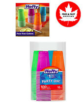Plastic Party Cups (Assorted Colors, 16 Ounce, 100 Count)