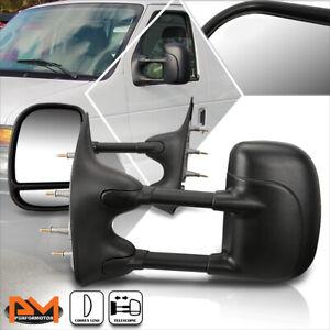 For 03-14 Ford E150-E550/Econoline Manual Telescoping Black Towing Mirror Pair
