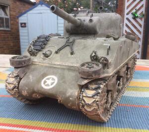 BUILT & WEATHERED 1:16 U.S M4A3 SHERMAN TANK FRANCE 1944 EX HENG LONG RC STATIC