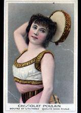 IMAGE CHROMO POULAIN / ART NOUVEAU / BUSTE de FEMME DANSEUSE MUSICIENNE
