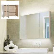 kleankin Triple Door Led Wall-Mount Bathroom Mirrored Cabinet Storage Closet