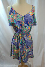 Kenneth Cole Reaction Paisley Intution Ruffle Drawstring Dress Cover Up Size XL