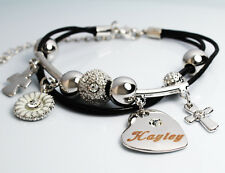 Genuine Braided Leather Charm Bracelet With Name - HAYLEY - Gifts for her