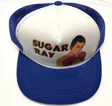 80's Rare Vintage Sugar Ray Leonard Boxing Trucker Hat Snapback Mesh Blue White