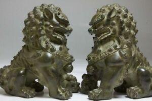 Antique Bronze Animals FengShui Fu Foo Dogs Wealth Lion Ball Head Statue Pair