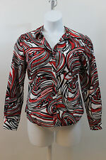 FOXCROFT WRINKLE FREE FITTED RED WHITE BLACK SWIRL SHIRT TOP BLOUSE 12