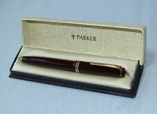Parker Victory Mk lV Fountain Pen in Burgundy, 14K Gold Nib, Near Mint in Box.