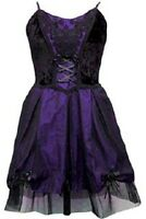 Ladies Black Purple Gothic Steampunk Medieval Velvety Silk Lace Dress Size 10-16