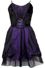 Ladies Black Purple Gothic Steampunk Medieval Velvety Silk Lace Dress Size 10-16