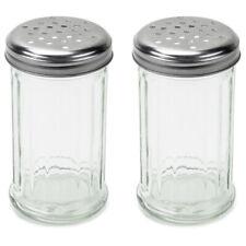 Set of 2 - 12 Oz. Cheese Shaker Seasoning Dispenser, Glass, Perforated Steel Lid