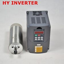 80MM DIAMETER 1.5KW WATER COOLED MOTOR SPINDLE & DRIVE INVERTER VFD TOP QUALITY