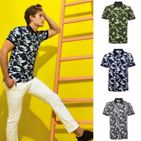 T Shirt Mens Camouflage Piquet Polo T Shirt  3 Colours S XL  100% Cotton