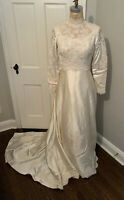 Vtg 60's WEDDING DRESS Gown Cathedral Train Satin Lace Pearls Long Sleeves Sz6