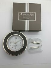 BRAND NEW ADDISON ROSS LONDON GREY GRAY & SILVER ALARM CLOCK