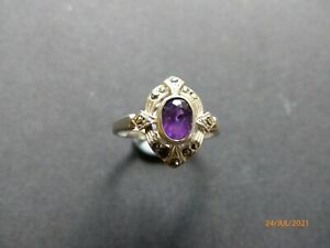 Silver Amethyst and Marcasite Finger Ring