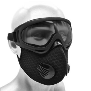 Outdoor Face Cover with Activated Carbon Filter & dustproof Glasses Goggle