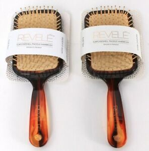2 Count Revele Tortoiseshell Wide Paddle Hairbrush Ball Tips Styles Builds Body