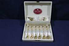 Royal Albert Old Country Roses Gold Plated & Porcelain Spoon Set ~ 8 pcs ~ New