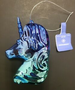 NWT Ombre Metallic Holiday Large Unicorn Head Ornament Dark Blue